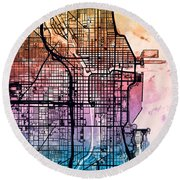 Chicago City Street Map Round Beach Towel