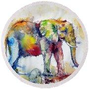 Big Colorful Elephant Round Beach Towel