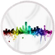 Dallas Texas Skyline Round Beach Towel by Michael Tompsett