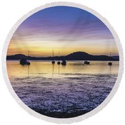 Dawn Waterscape Over The Bay With Boats Round Beach Towel