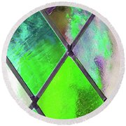 Diamond Pane Green Round Beach Towel