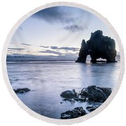Dinosaur Rock Beach In Iceland Round Beach Towel by Joe Belanger