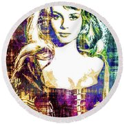 Round Beach Towel featuring the mixed media Michele Mercier by Svelby Art