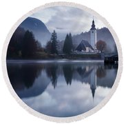 Morning At Lake Bohinj In Slovenia Round Beach Towel