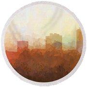 Round Beach Towel featuring the digital art New Orleans Louisiana Skyline by Marlene Watson