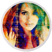 Round Beach Towel featuring the mixed media Nina Dobrev by Svelby Art