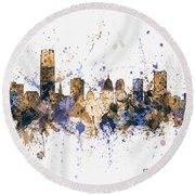 Round Beach Towel featuring the digital art Oklahoma City Skyline by Michael Tompsett