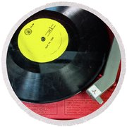 Round Beach Towel featuring the photograph 8 Rpm Record Player by Gary Slawsky