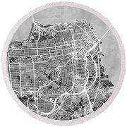 San Francisco City Street Map Round Beach Towel