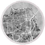 San Francisco City Street Map Round Beach Towel