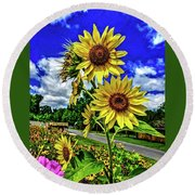 Sun Flower Round Beach Towel