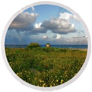 Round Beach Towel featuring the photograph 8- Sunflowers In Paradise by Joseph Keane