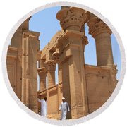 Temple Of Isis Round Beach Towel by Silvia Bruno