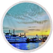 View From The Water Around The River Alster And Elbe, Waterfront And Warehouse District In Hamburg Round Beach Towel