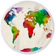 Round Beach Towel featuring the digital art Watercolor Map Of The World Map by Michael Tompsett