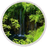 Waterfall In Plitvice National Park In Croatia Round Beach Towel