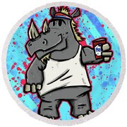 80's Party Rhino Round Beach Towel