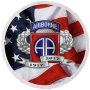 82nd Airborne Division 100th Anniversary Insignia Over American Flag  Round Beach Towel