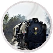 Round Beach Towel featuring the photograph 844 Head Down The Tracks by Mark McReynolds