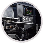 Round Beach Towel featuring the photograph 844 Steam Locomotive by Mark McReynolds