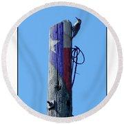 #8667 Woodpecker Round Beach Towel by Barbara Tristan