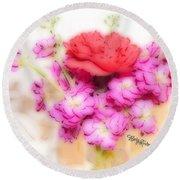 #8742 Soft Flowers Round Beach Towel by Barbara Tristan