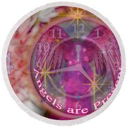#8913_444 Angels Are Present  Round Beach Towel by Barbara Tristan