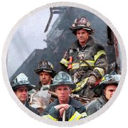 9/11 Firefighters Round Beach Towel