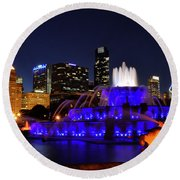 Round Beach Towel featuring the photograph 911 Tribute At Buckingham Fountain, Chicago by Zawhaus Photography