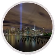9/11 Tribute Lights 2016 Round Beach Towel