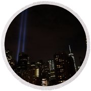 9-11 Tribute Nyc Skyline From Seaport Round Beach Towel by Jeff at JSJ Photography