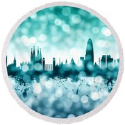 Barcelona Spain Skyline Round Beach Towel by Michael Tompsett
