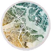 Boston Massachusetts Street Map Round Beach Towel