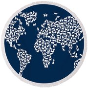 Cats Map Of The World Map Round Beach Towel
