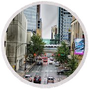 Charlotte North Carolina Views Around  Downtown Round Beach Towel