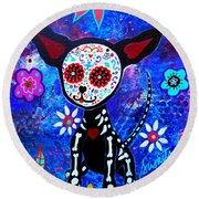 Chihuahua Dia De Los Muertos Round Beach Towel