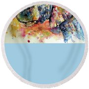 Colorful Elephant Round Beach Towel by Kovacs Anna Brigitta
