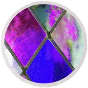 Diamond Pane  Round Beach Towel