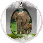 Elephant Art Round Beach Towel