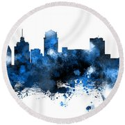 Nashville Tennessee Skyline Round Beach Towel