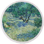 Olive Orchard Round Beach Towel