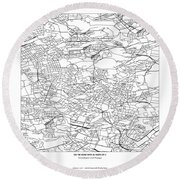 On The Road With 36 Digits Of Pi Round Beach Towel
