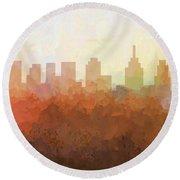 Round Beach Towel featuring the digital art Philadelphia Pennsylvania Skyline by Marlene Watson