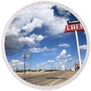 Route 66 Cafe Round Beach Towel by Frank Romeo