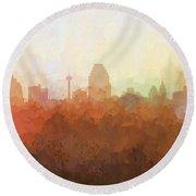 Round Beach Towel featuring the digital art San Antonio Texas Skyline by Marlene Watson