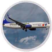 Travel Service Boeing 737-8cx Round Beach Towel