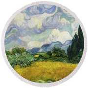 Round Beach Towel featuring the painting Wheat Field With Cypresses by Vincent van Gogh