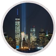 9.11.2015 Tribute In Light Round Beach Towel