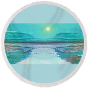 - 938 - Abstract Seascape - 2017  Round Beach Towel by Irmgard Schoendorf Welch