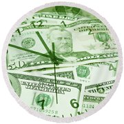 Round Beach Towel featuring the photograph Time Is Money  by Les Cunliffe